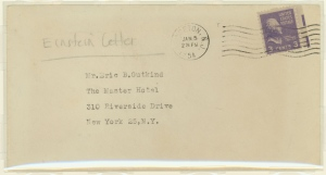 The envelope which contained a letter handwritten by physicist Albert Einstein